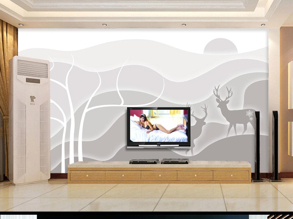 梦幻大树树枝树干抽象树剪影国画水墨画电视墙壁纸墙壁墙画墙纸手绘