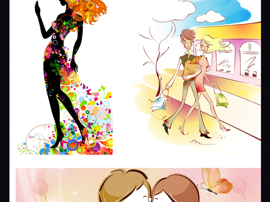 彩色创意时尚情人美女人物矢量素材下载