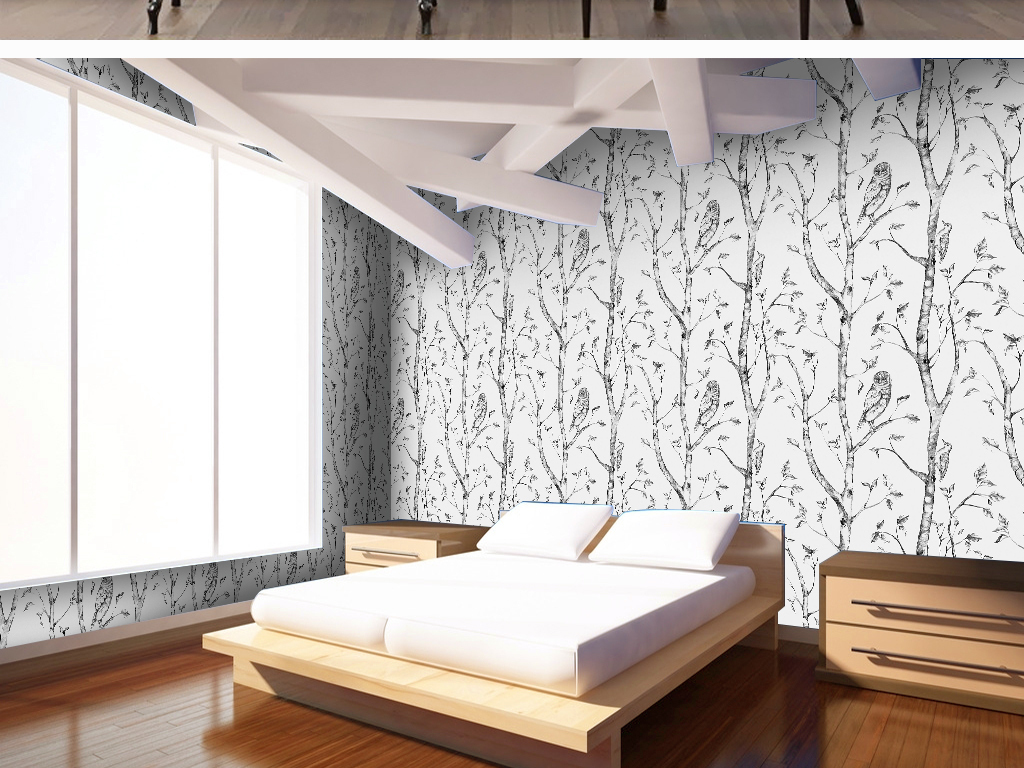 手绘美妆四方延续树鸟猫头鹰铅笔画树枝田园风清新墙纸图片墙纸素材欧