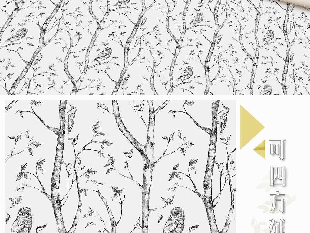 手绘美妆四方延续树鸟猫头鹰铅笔画树枝田园风清新墙纸图片墙纸素材
