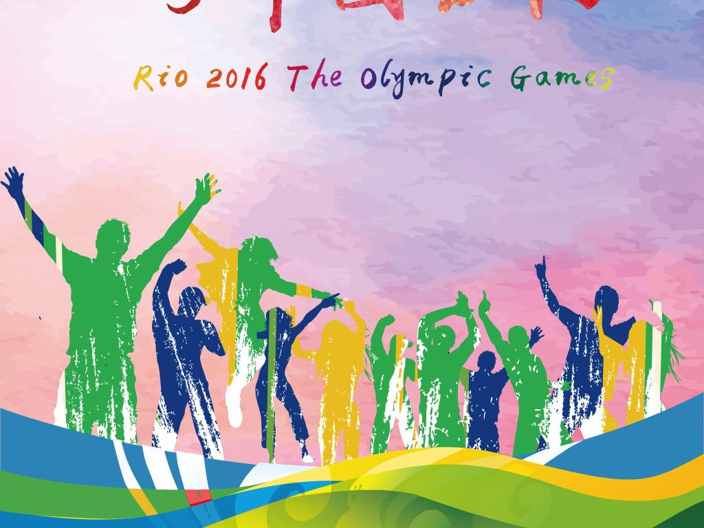 平面|广告设计 海报设计 体育海报 > 时尚水彩背景里约奥运会宣传海报