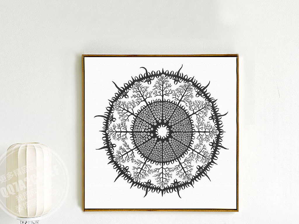欧式古典手绘黑白花纹无框画