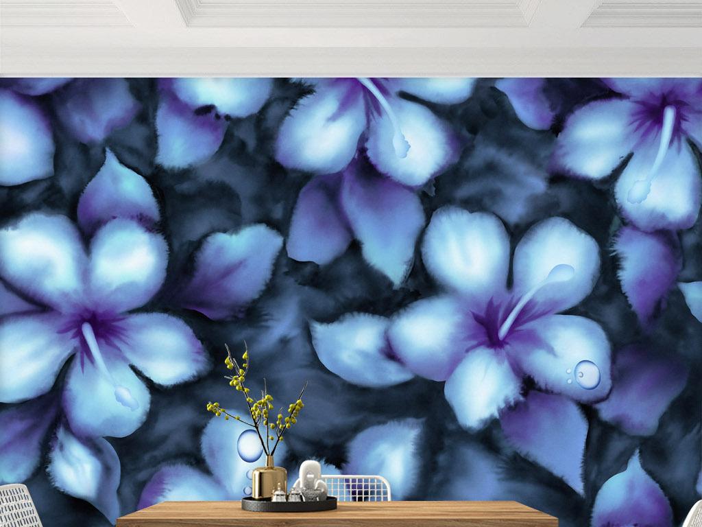 色花朵浸染水墨现代意象家居客厅背景壁画