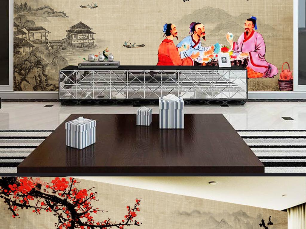 壁画墙纸壁纸茶道品茶茶楼茶文化梅花山水中国风古典中式图片