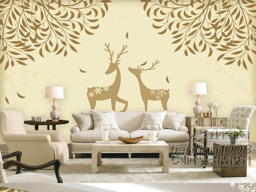电视墙装饰画沙发家装工装壁画墙纸壁纸现代时尚欧式浪漫北欧图片