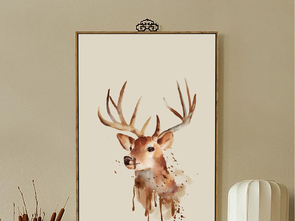北欧风格北欧美式抽象麋鹿动物装饰画分层