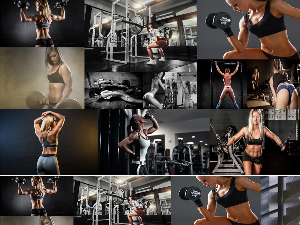 高清健身房性感美女照片背景墙