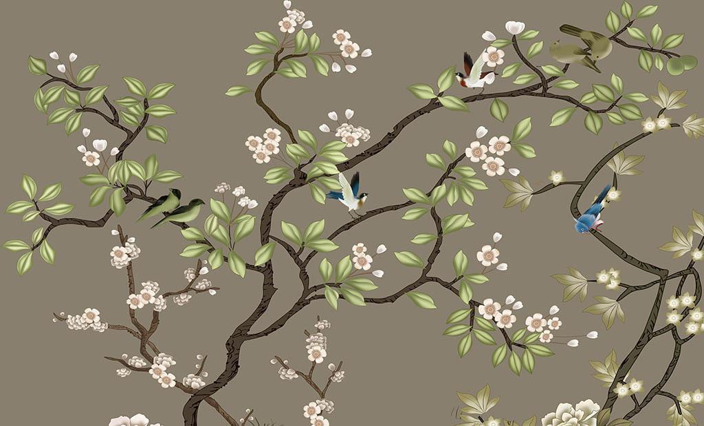 手绘花鸟中式背景墙