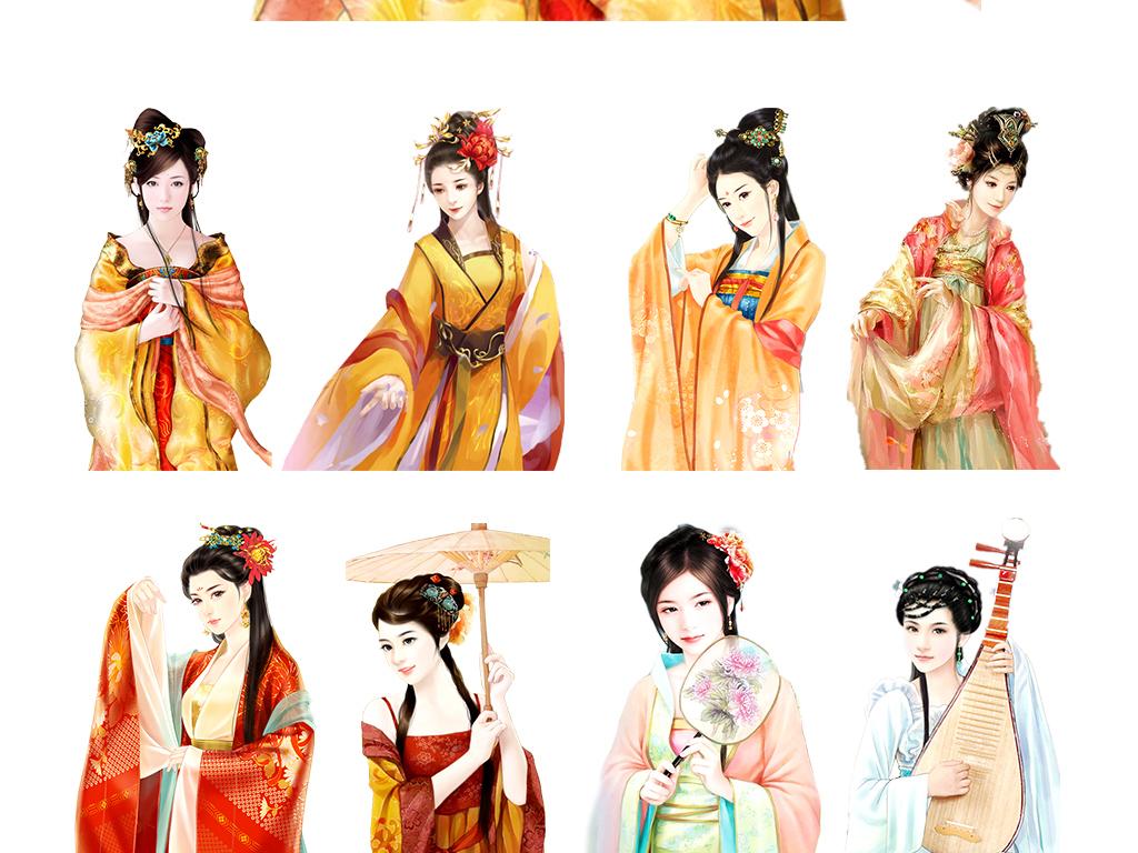 气质优雅手绘中国古代美女图片