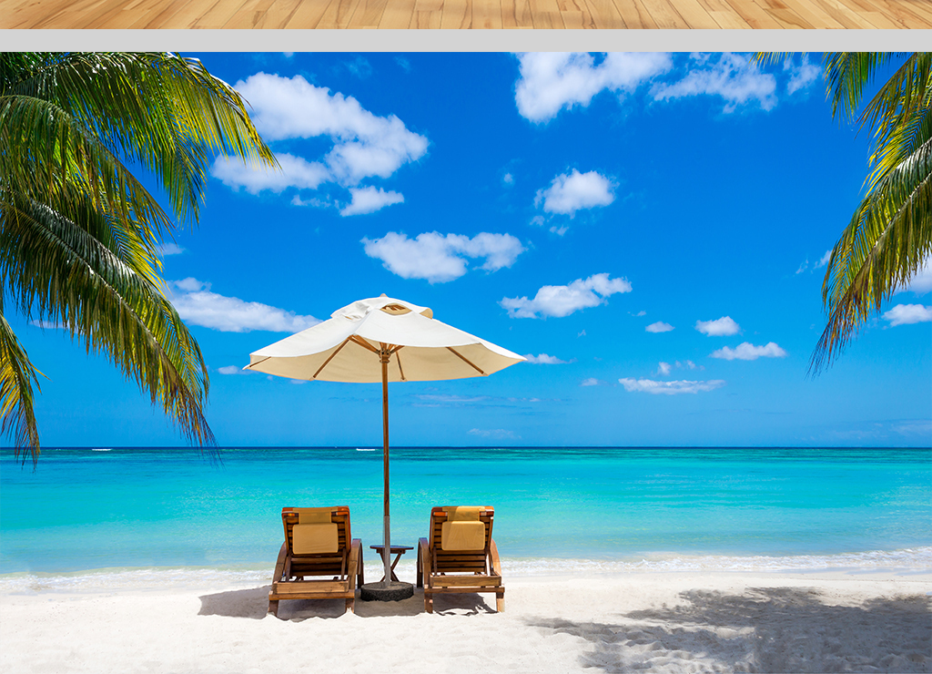 太阳伞碧海蓝天椰林沙滩海滨度假图片