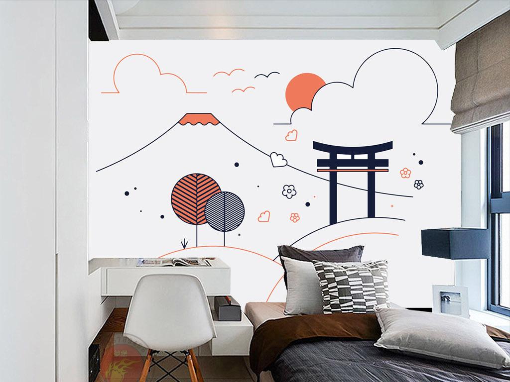 日式抽象手绘线条富士山神社背景墙装饰画