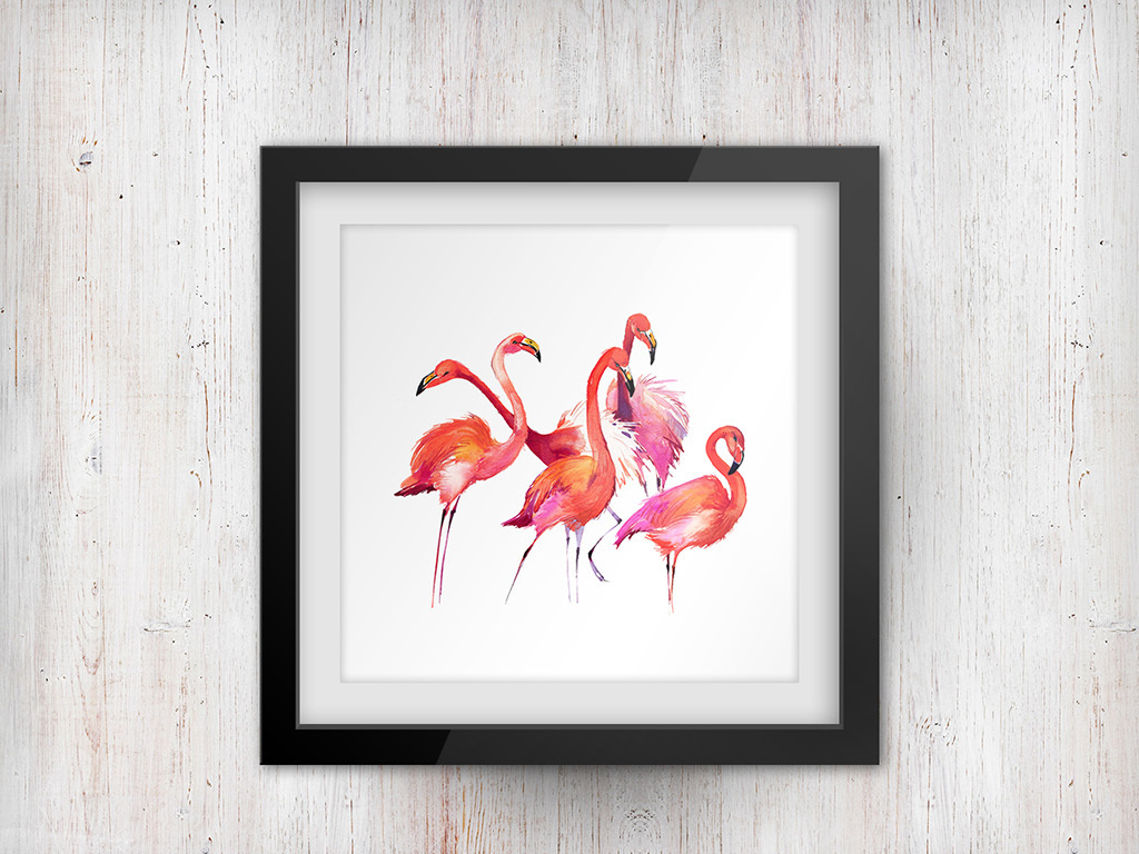 手绘水彩火烈鸟无框画个性装饰画