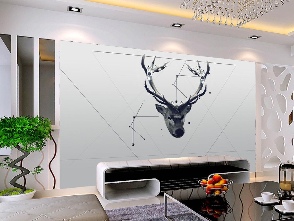手绘鹿头黑白电视背景墙装饰画