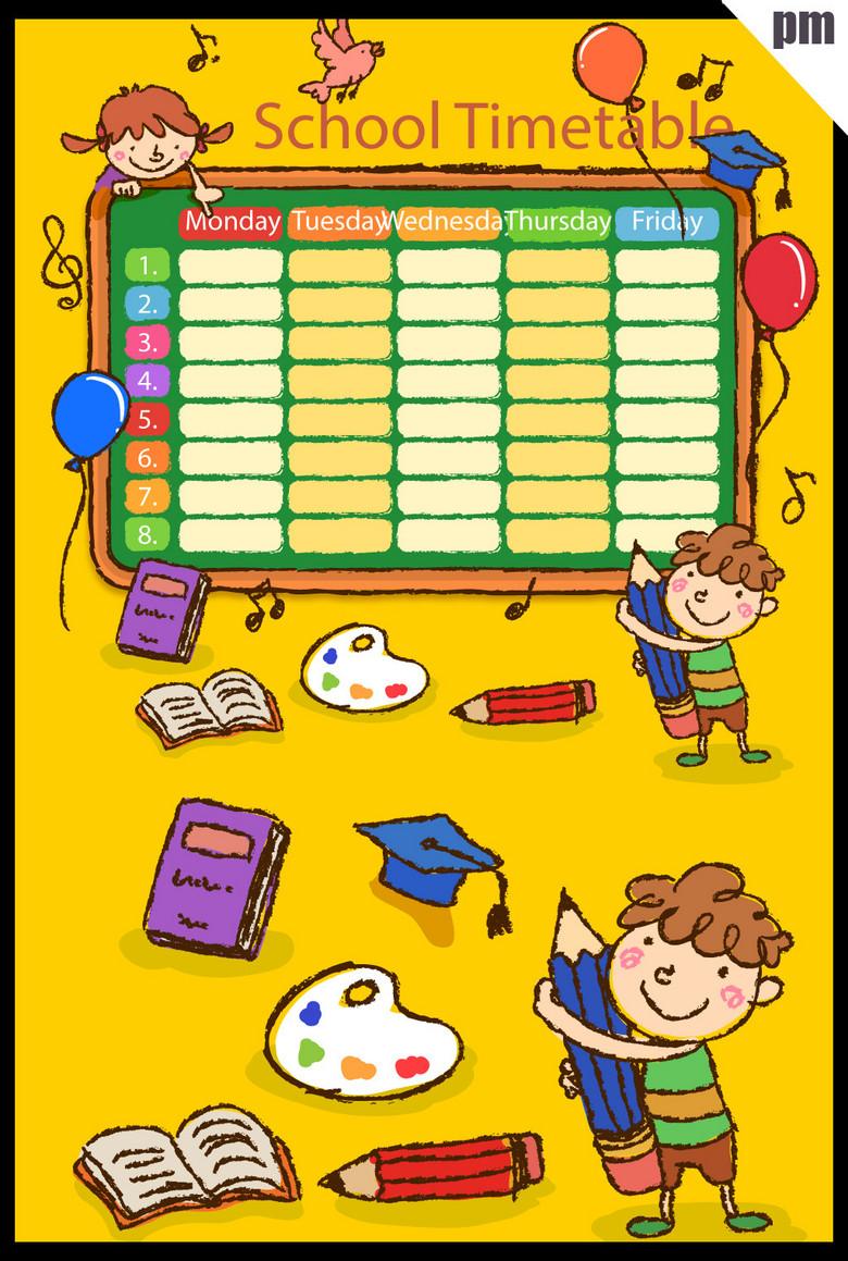 手绘可爱小学生小朋友课程表素材图片