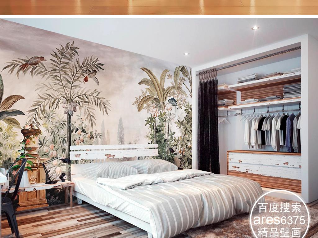 欧式复古怀旧宫廷手绘雨林鹦鹉田园美式壁画