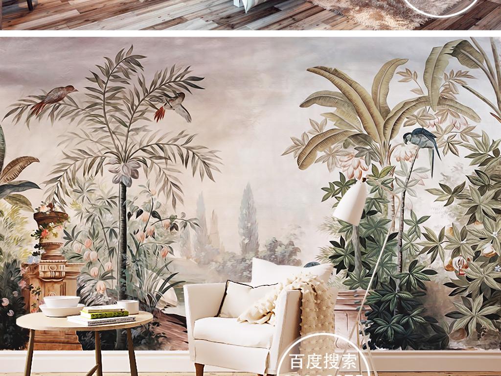 欧式复古怀旧宫廷手绘雨林鹦鹉田园美式壁画 位图, rgb格式高清大图图片