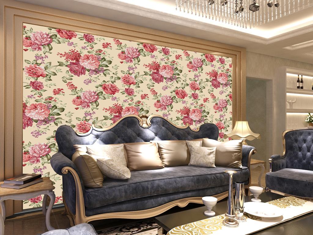 欧式沙发背景墙墙纸图片