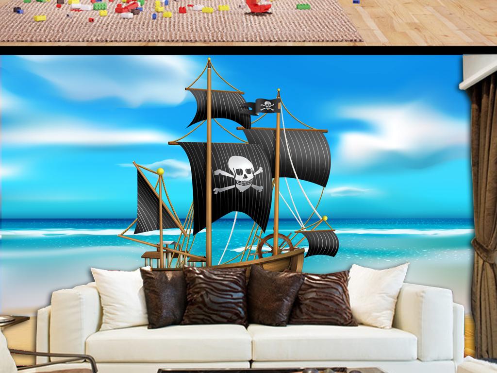 背景墙|装饰画 电视背景墙 儿童房背景墙 > 海盗船唯美儿童房壁画小孩