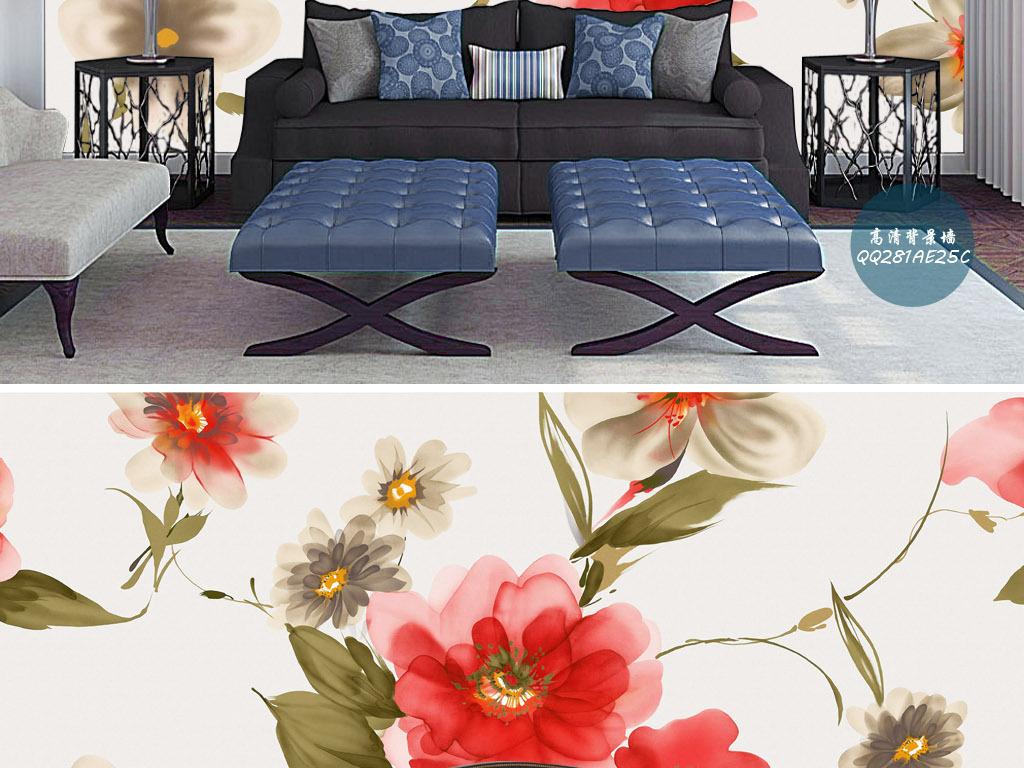 玫瑰百合简约韩版欧式小清新手绘客厅背景墙