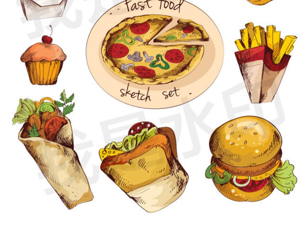 卡通西式食物矢量图图片