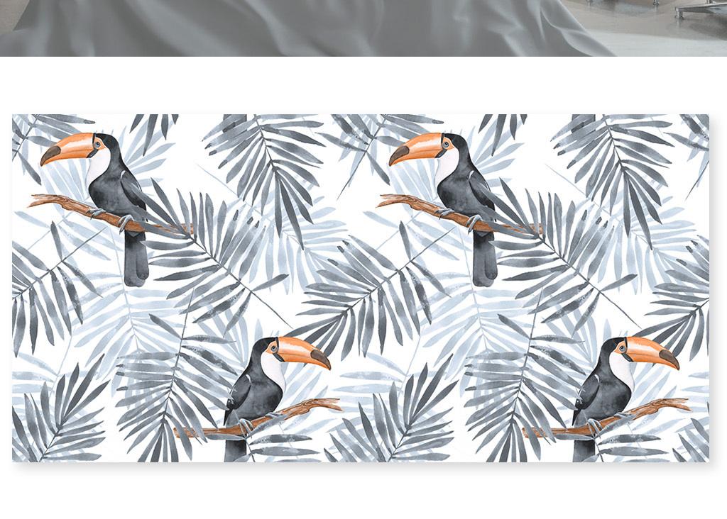 淡雅现代新中式叶子巨嘴鸟背景墙壁画(图片编号:)_墙图片