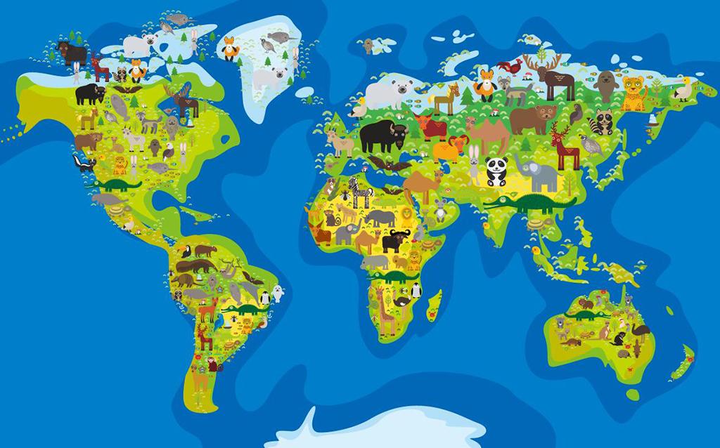 超清矢量卡通海洋系列世界地图背景墙