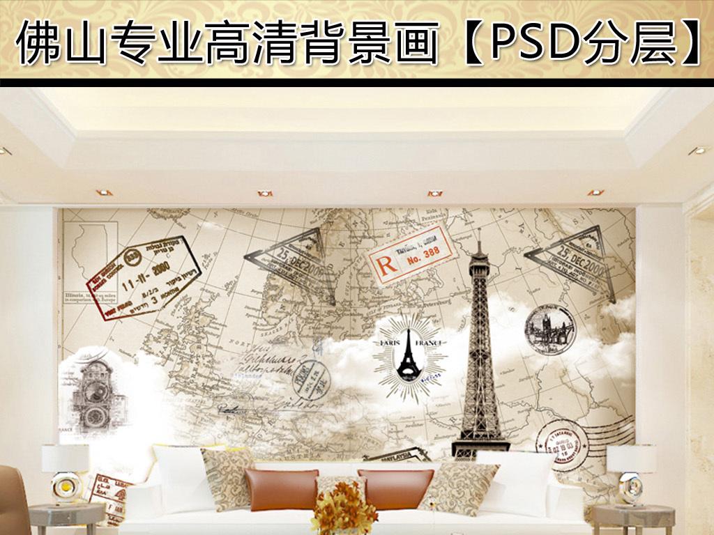 欧式邮票印章世界地图手绘画巴黎铁塔