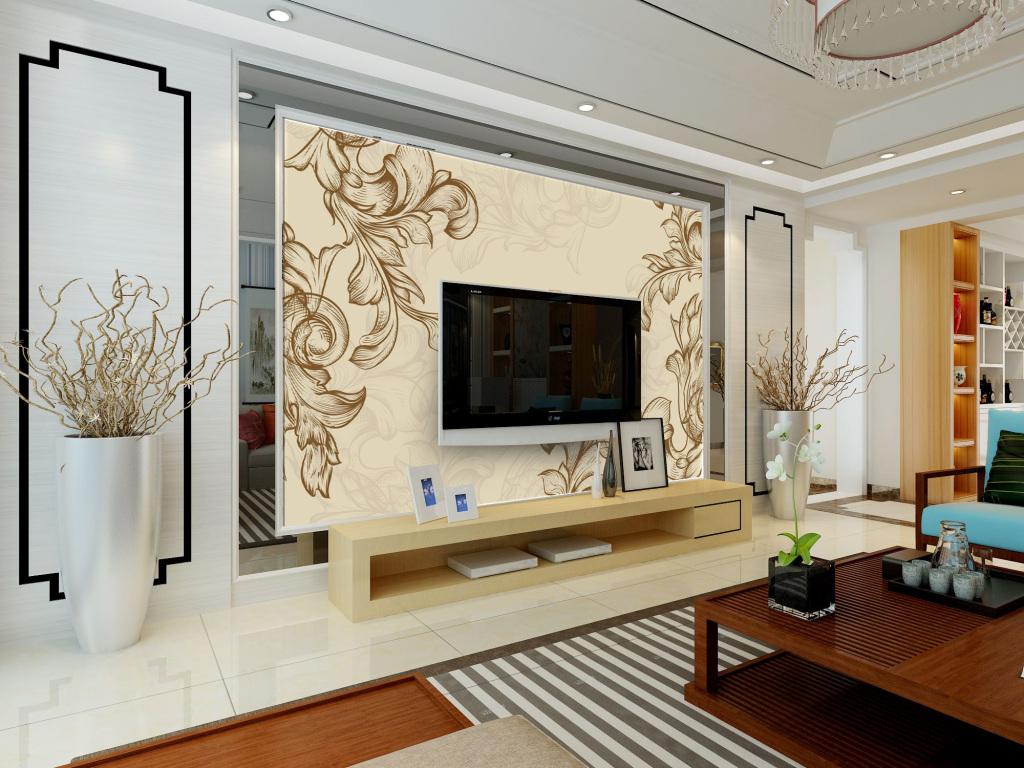 植物叶子简易手绘画电视机背景墙装饰画