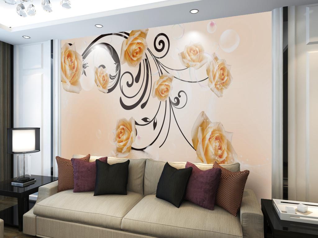 金色玫瑰话简约浪漫电视机背景墙设计