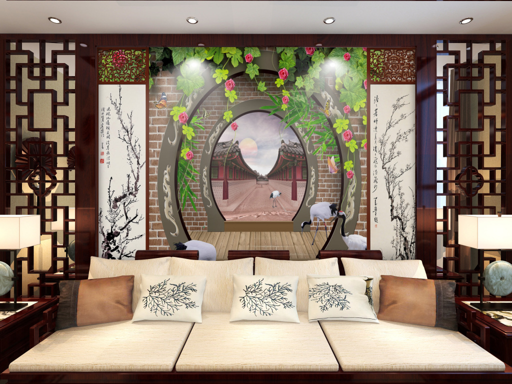 古典园林圆门花朵藤蔓丹顶鹤电视机背景墙图片