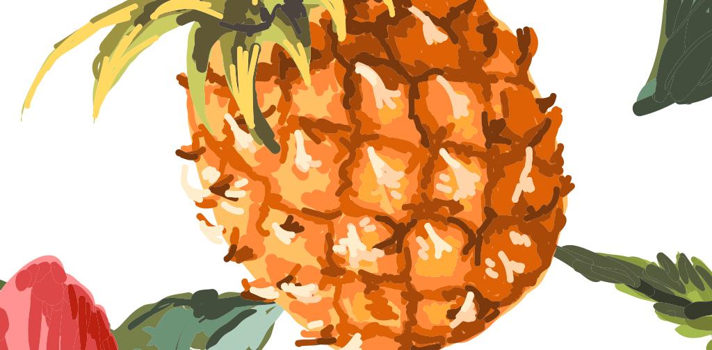 手绘菠萝叶子热带植物墙纸