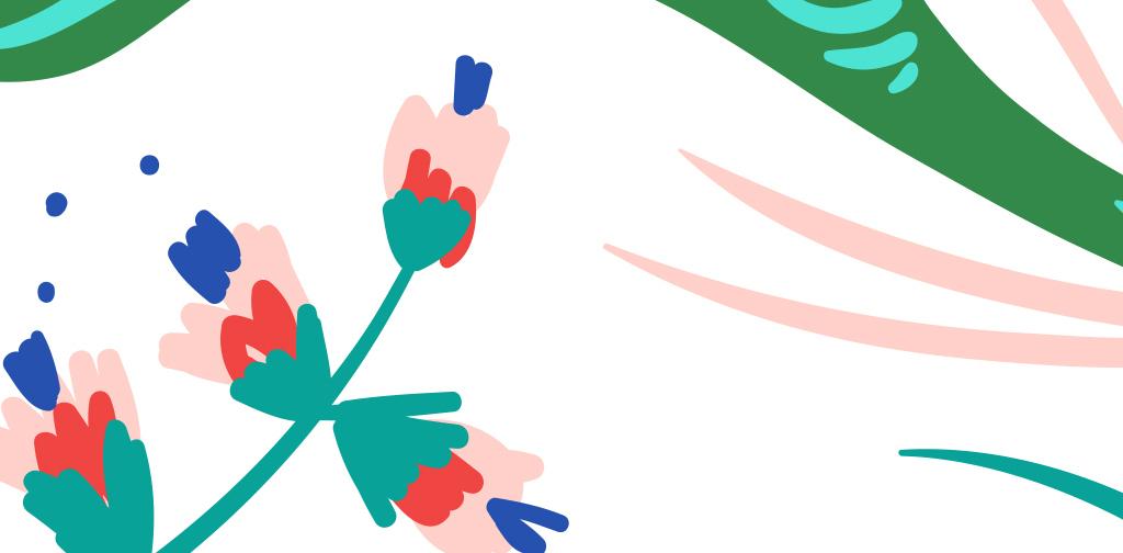 手绘炫彩热带植物墙纸背景墙
