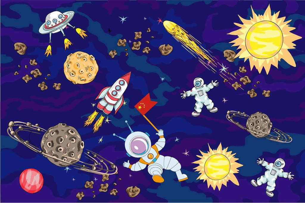 背景墙|装饰画 电视背景墙 手绘电视背景墙 > 超清卡通宇宙宇航员系列