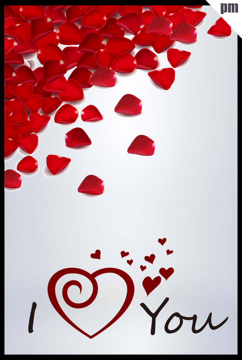 色玫瑰花瓣手绘iloveyou设计元素图片下载ai素材 英文字体