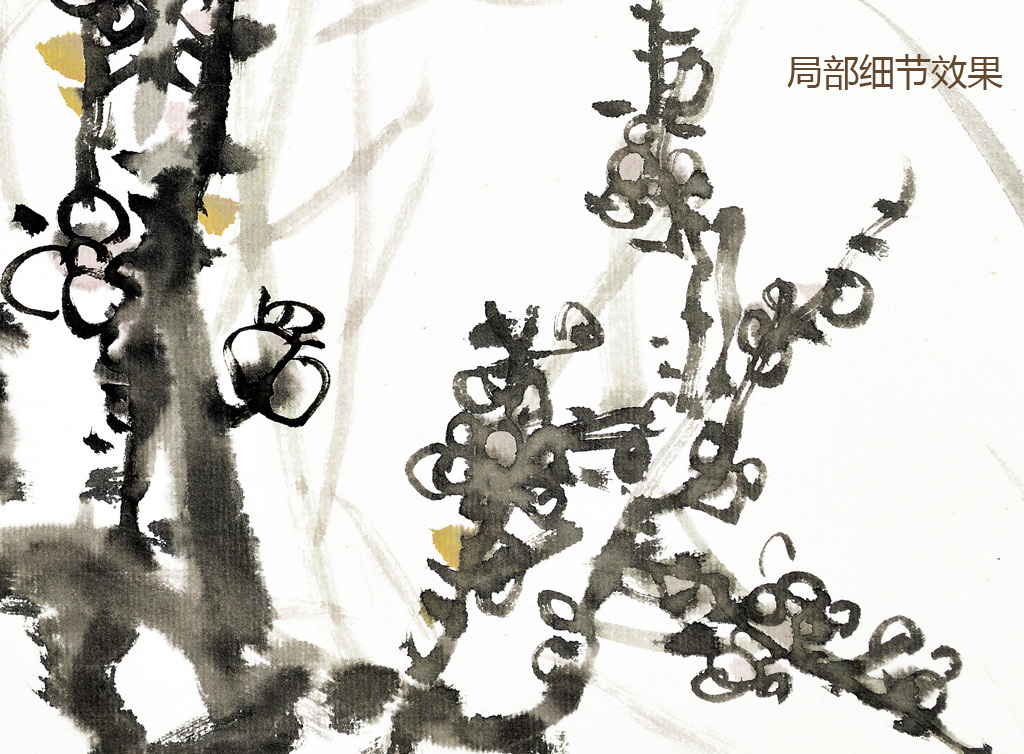 现代水墨画新中式风格手绘壁画四君子