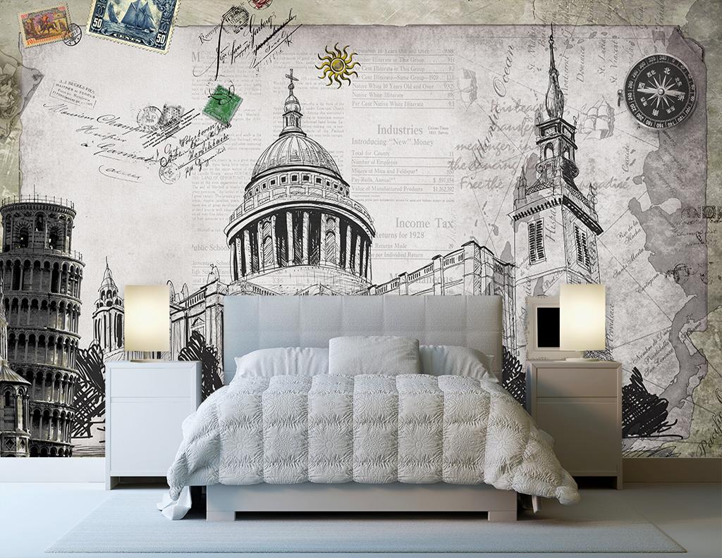 壁画电视墙欧美手绘怀旧欧式复古