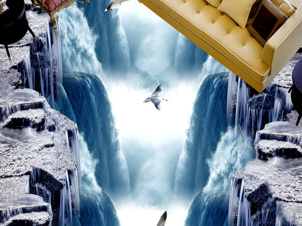 户外瀑布3d立体地画
