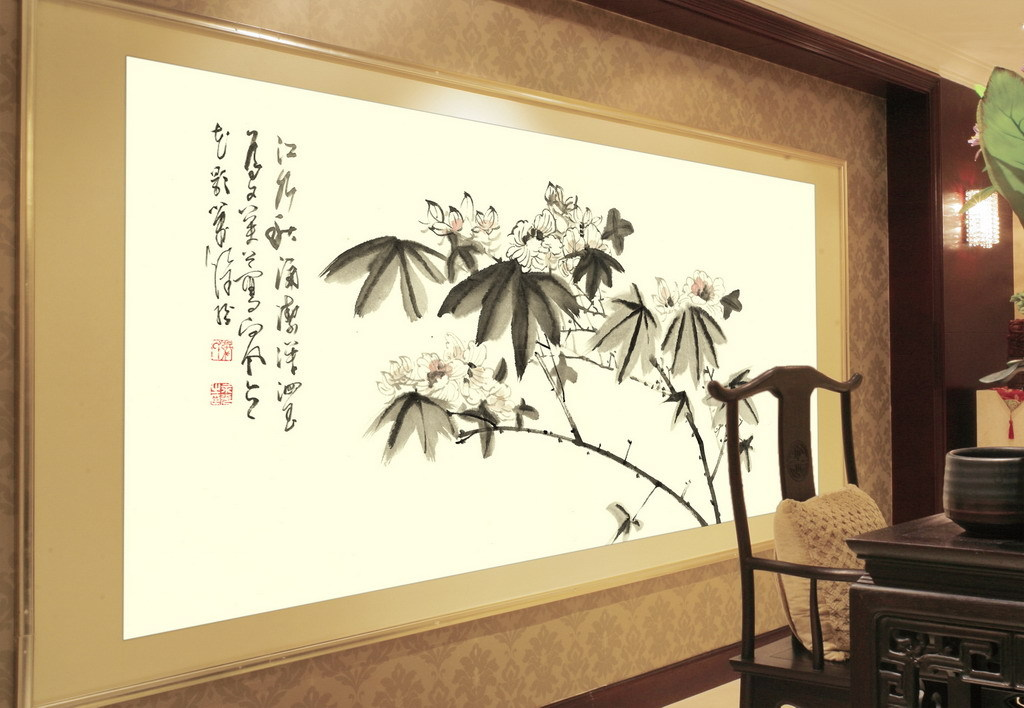 现代水墨画新中式风格手绘壁画1(图片编号:15462941)
