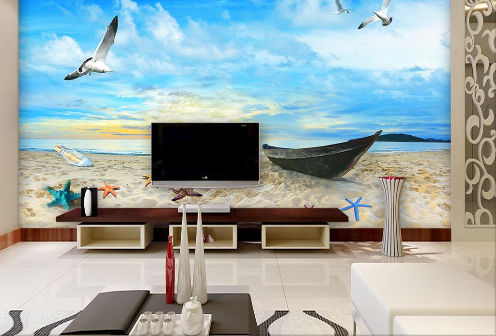手绘地中海风格电视背景墙