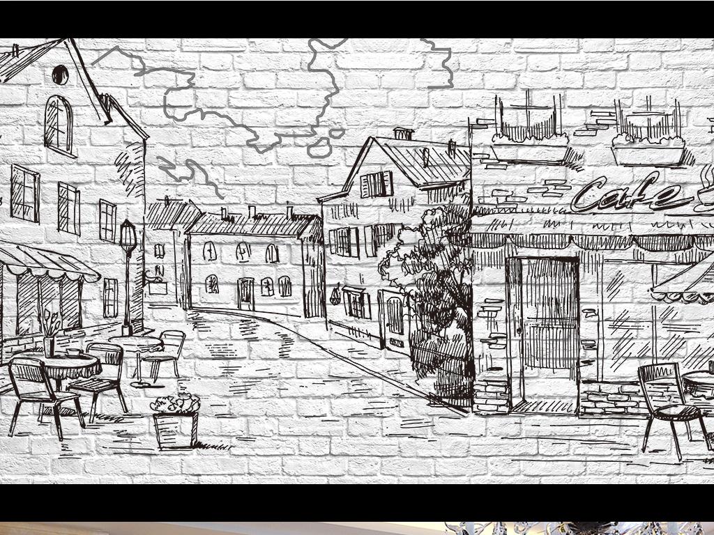 怀旧手绘素描城市街景墙砖电视背景墙图片