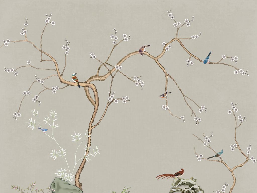 手绘梅花工笔花鸟竹子新中式壁画装饰画