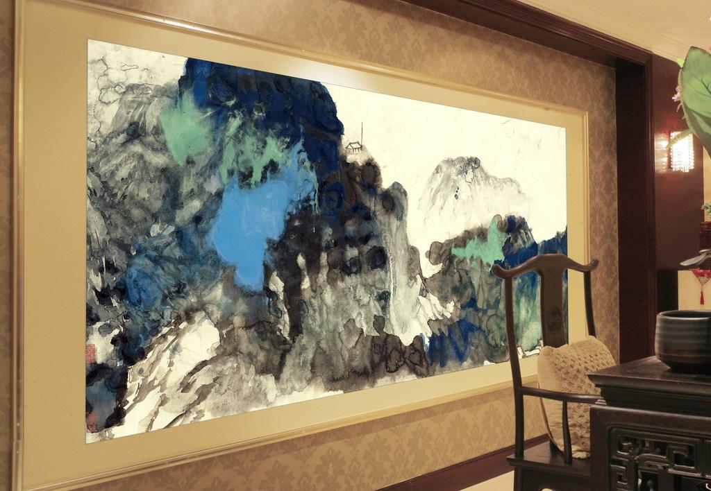 现代水墨画新中式风格手绘壁画重彩
