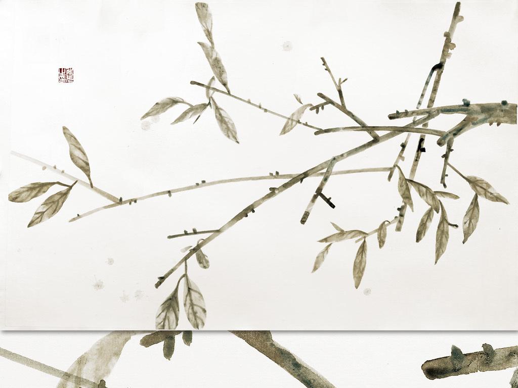 现代水墨画新中式风格手绘壁画树叶4