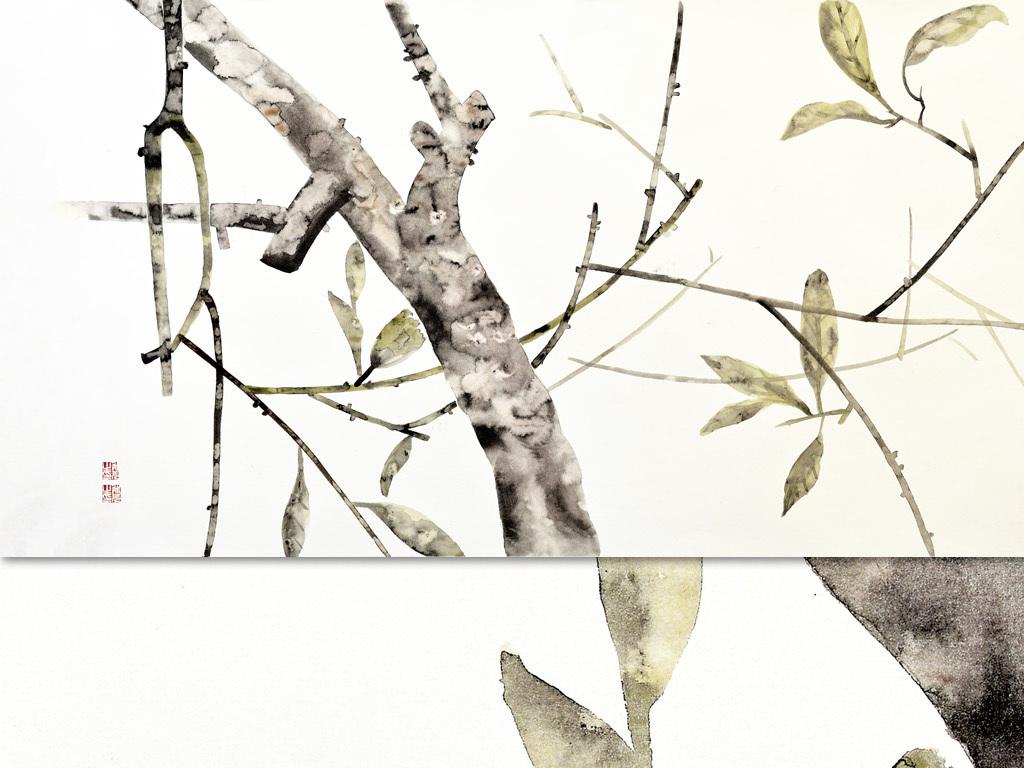现代水墨画新中式风格手绘壁画树叶5