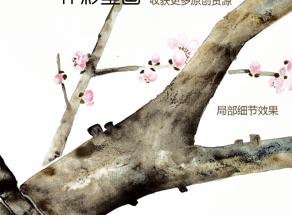 现代水墨画新中式风格手绘壁画小花
