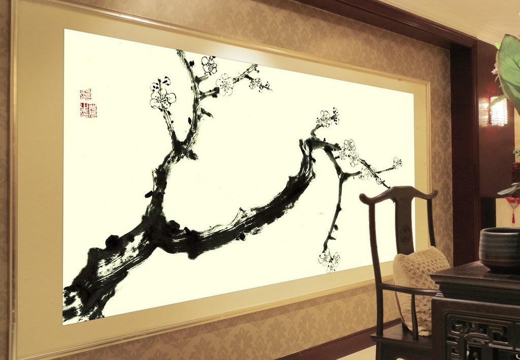 现代水墨画新中式风格手绘壁画梅花
