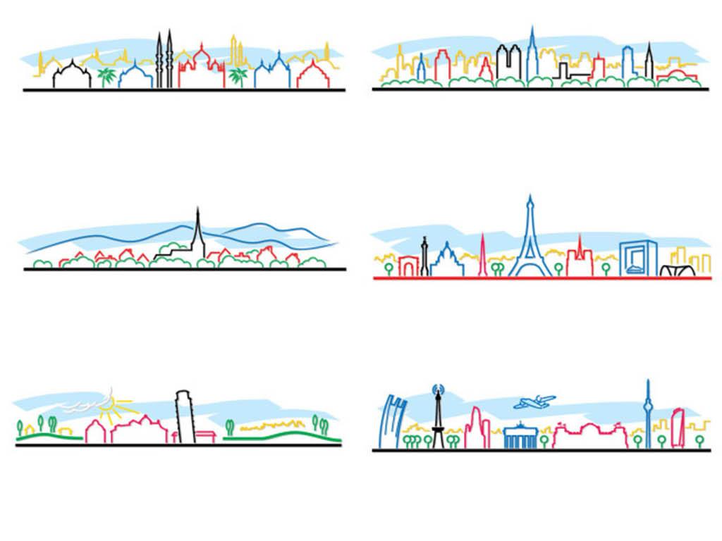 简约炫彩多彩彩色手绘线条城市剪影矢量图片