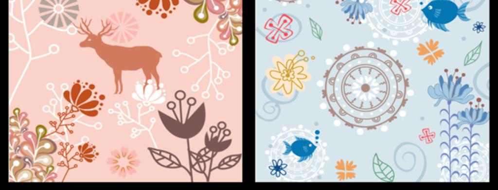 植物动物清新底纹背景矢量背景素材下载