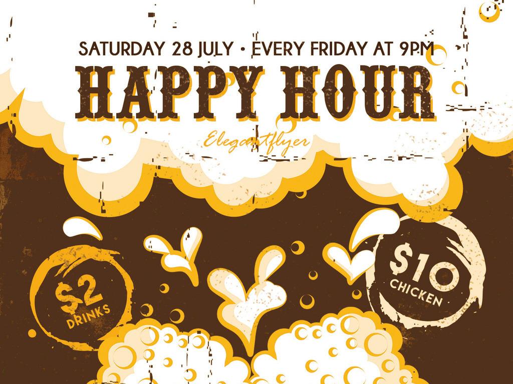 欢乐时光复古手绘啤酒促销创意宣传海报