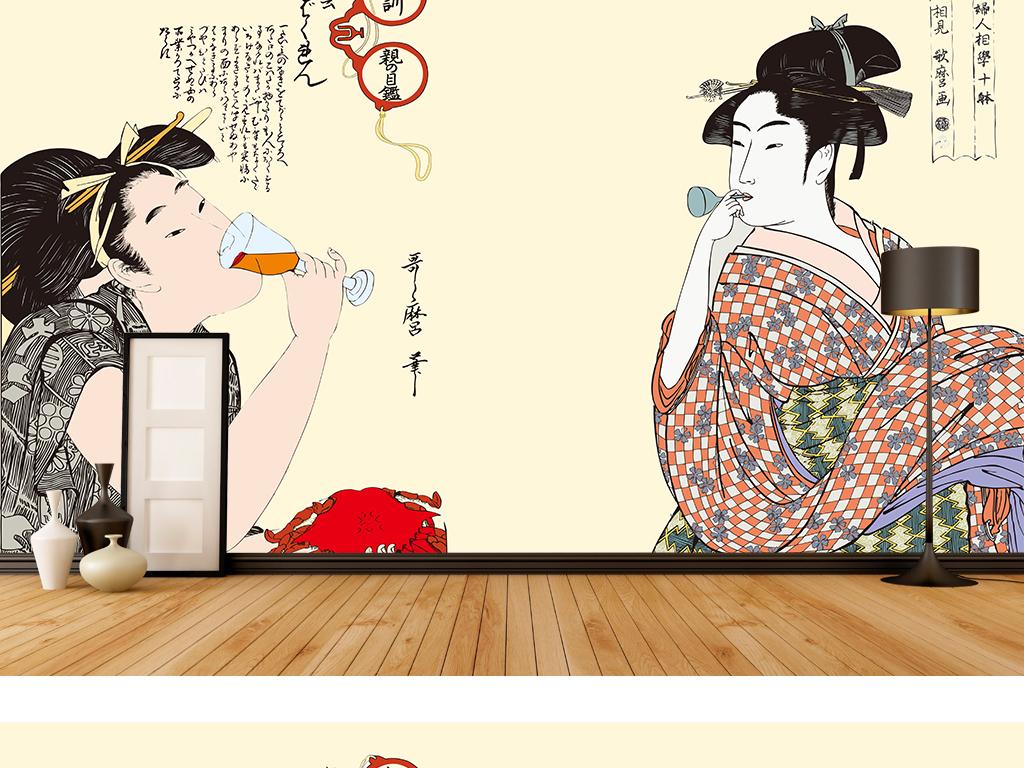 背景墙|装饰画 电视背景墙 手绘电视背景墙 > 古典唯美仕女图日本仕女